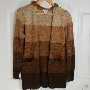 Love Rocks Brown Ombre Stripe Hooded Cardigan